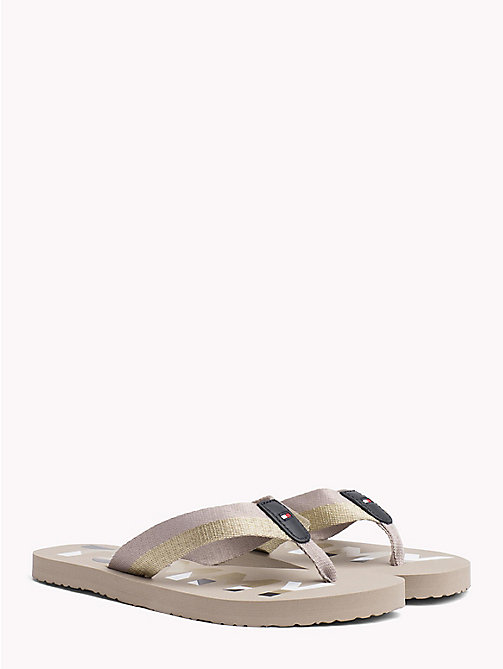 TOMMY HILFIGER Glitter Strap Beach Sandals - COBBLESTONE - TOMMY HILFIGER NEW IN - main image