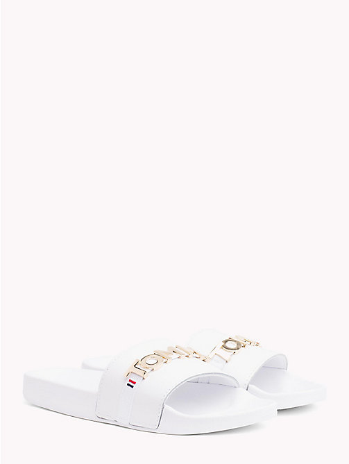 TOMMY HILFIGER Leather Beach Sliders - WHITE - TOMMY HILFIGER NEW IN - main image