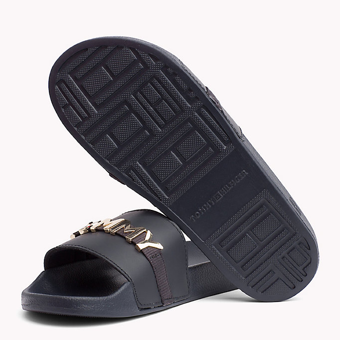 TOMMY HILFIGER Leather Beach Sliders - TANGO RED - TOMMY HILFIGER Women - detail image 1