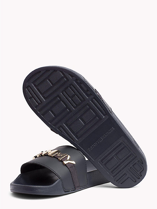 TOMMY HILFIGER Leather Beach Sliders - MIDNIGHT - TOMMY HILFIGER NEW IN - detail image 1