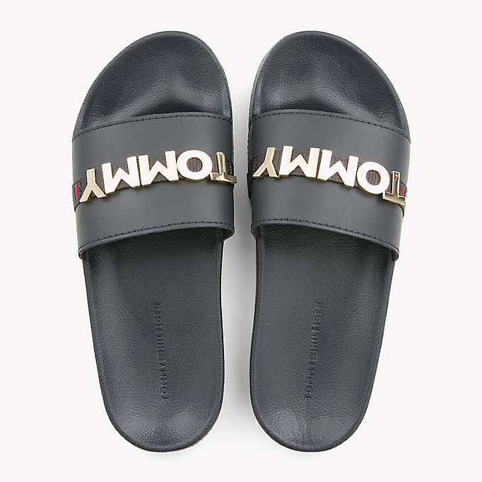 TOMMY HILFIGER Leather Beach Sliders - TANGO RED - TOMMY HILFIGER Women - detail image 3