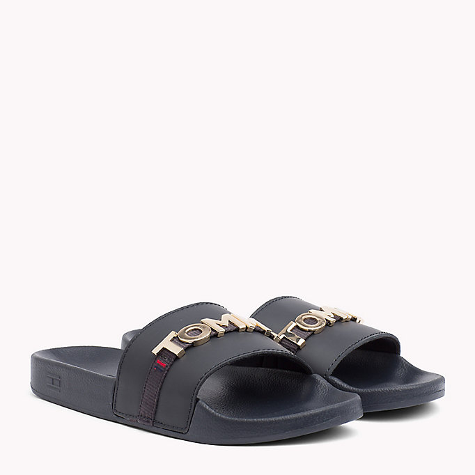 TOMMY HILFIGER Leather Beach Sliders - TANGO RED - TOMMY HILFIGER Women - main image
