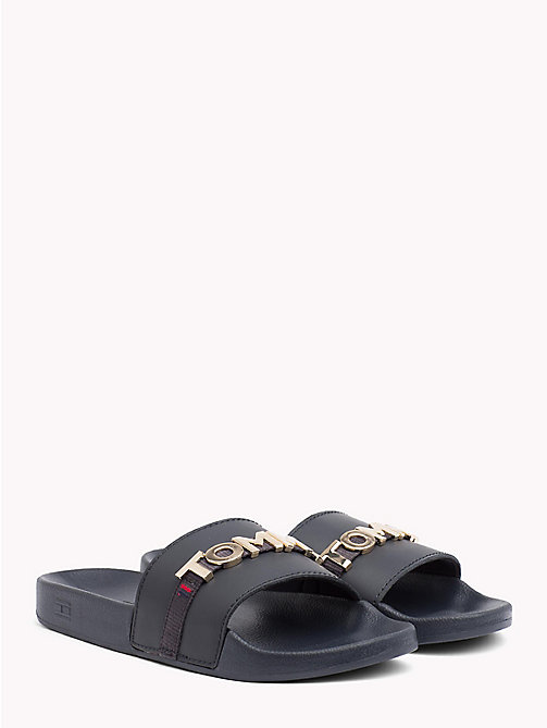 TOMMY HILFIGER Leather Beach Sliders - MIDNIGHT - TOMMY HILFIGER NEW IN - main image
