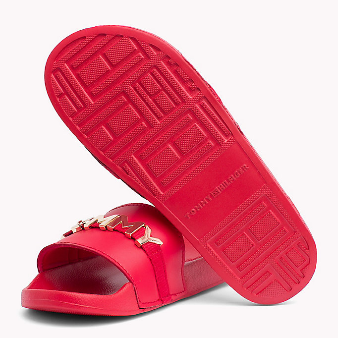 TOMMY HILFIGER Leather Beach Sliders - WHITE - TOMMY HILFIGER Women - detail image 1
