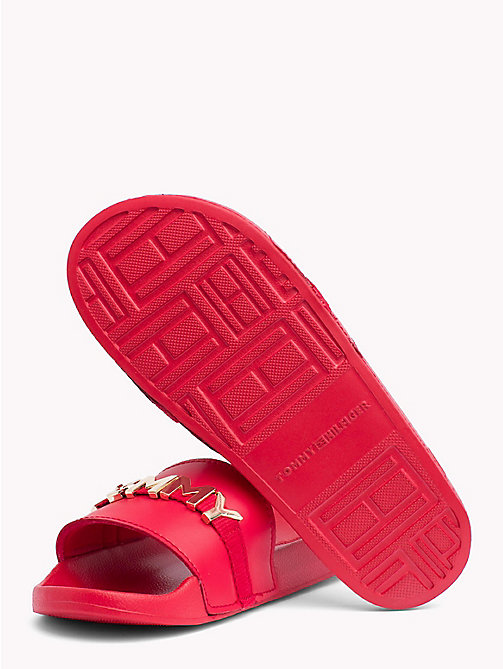 TOMMY HILFIGER Leather Beach Sliders - TANGO RED - TOMMY HILFIGER Sandals - detail image 1