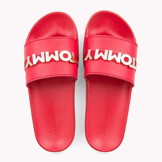 TOMMY HILFIGER Leather Beach Sliders - WHITE - TOMMY HILFIGER Women - detail image 3