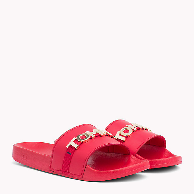 TOMMY HILFIGER Leather Beach Sliders - WHITE - TOMMY HILFIGER Women - main image