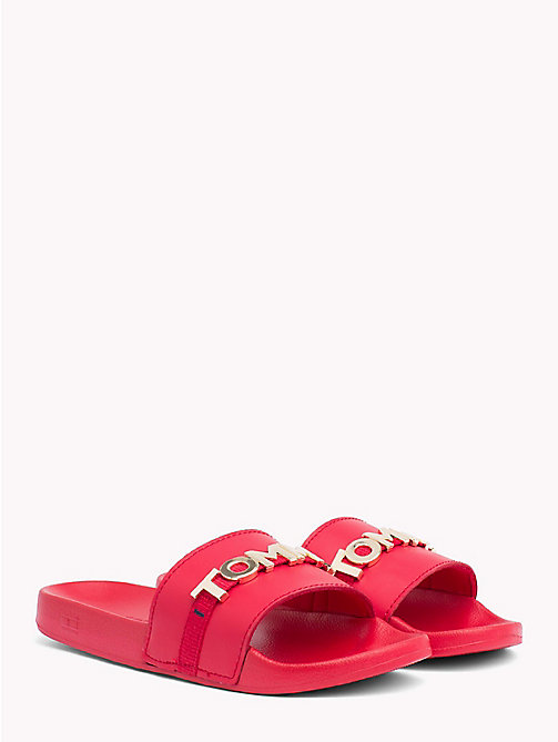 TOMMY HILFIGER Leather Beach Sliders - TANGO RED - TOMMY HILFIGER Sandals - main image