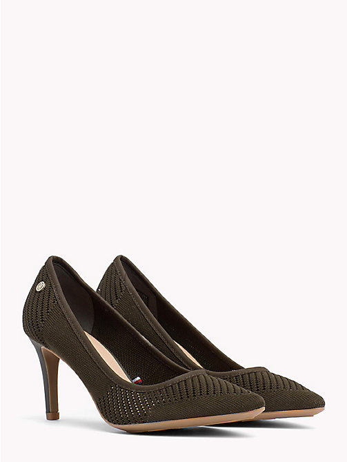 TOMMY HILFIGER Knitted Pointed Pumps - DUSTY OLIVE - TOMMY HILFIGER NEW IN - main image