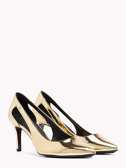 TOMMY HILFIGER Mirror Metallic Cut-Out Heels - LIGHT GOLD - TOMMY HILFIGER Pumps - main image