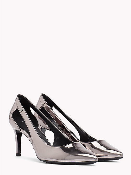 TOMMY HILFIGER Spiegelende metallic pump met cut-out - BLACK - TOMMY HILFIGER Occasionwear - main image