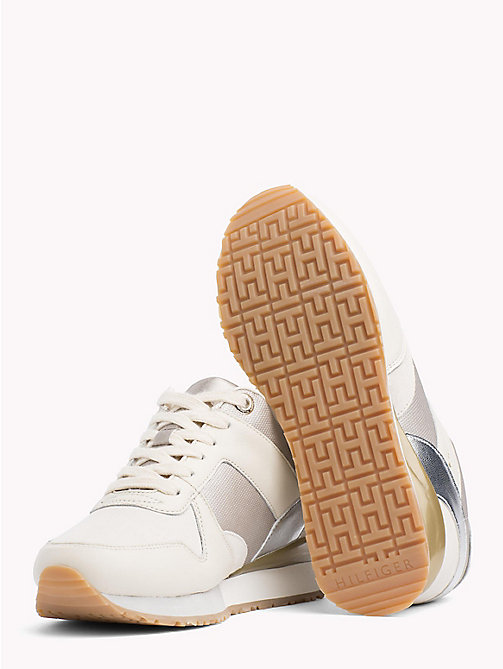 TOMMY HILFIGER Metallic Detail Hidden Wedge Trainers - WHISPER WHITE - TOMMY HILFIGER Best Sellers - detail image 1