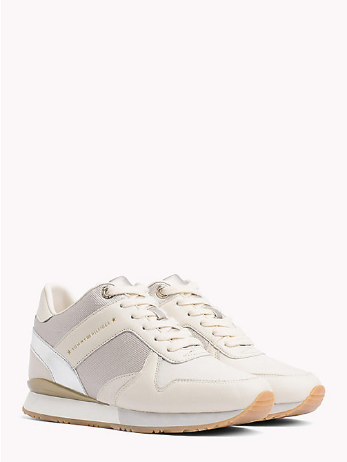TOMMY HILFIGER Metallic Detail Hidden Wedge Trainers - WHISPER WHITE - TOMMY HILFIGER NEW IN - main image