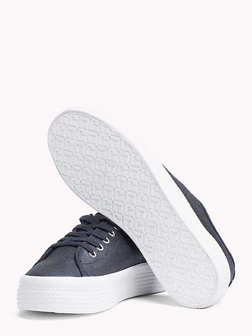 TOMMY HILFIGER Woven Metallic Flatform Trainers - MIDNIGHT - TOMMY HILFIGER Trainers - detail image 1