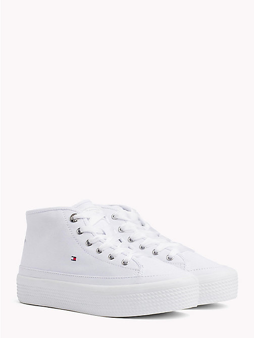 TOMMY HILFIGER Mid-Cut Flatform Trainers - WHITE - TOMMY HILFIGER VACATION FOR HER - main image