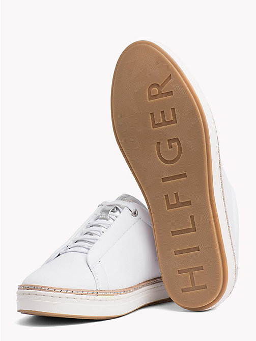 TOMMY HILFIGER Leather Lace-Up City Trainers - WHITE - TOMMY HILFIGER NEW IN - detail image 1
