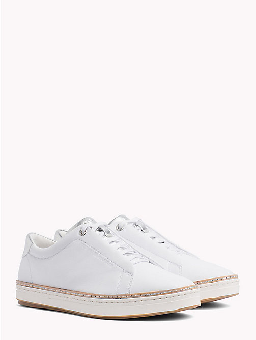 TOMMY HILFIGER Leather Lace-Up City Trainers - WHITE - TOMMY HILFIGER NEW IN - main image