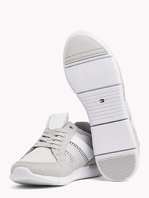TOMMY HILFIGER Metallic Lightweight Lace-Up Trainers - DIAMOND GREY - TOMMY HILFIGER VACATION FOR HER - detail image 1