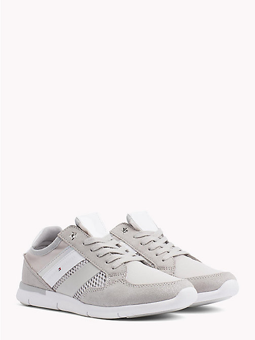 TOMMY HILFIGER Metallic Lightweight Lace-Up Trainers - DIAMOND GREY - TOMMY HILFIGER VACATION FOR HER - main image