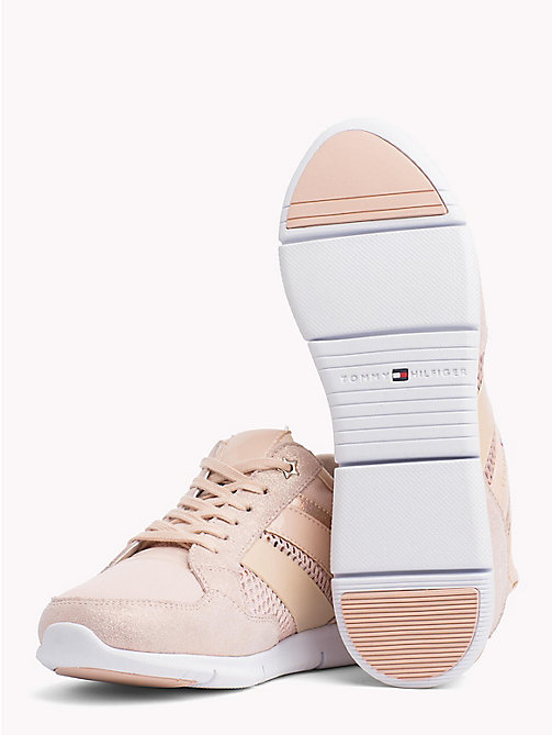 TOMMY HILFIGER Metallic Lightweight Lace-Up Trainers - DUSTY ROSE - TOMMY HILFIGER VACATION FOR HER - detail image 1