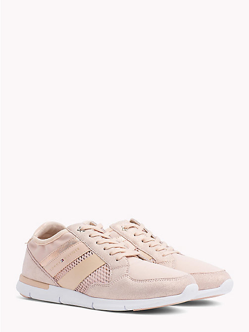 TOMMY HILFIGER Metallic Lightweight Lace-Up Trainers - DUSTY ROSE - TOMMY HILFIGER VACATION FOR HER - main image