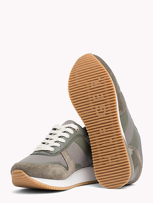 TOMMY HILFIGER Metallic Detail Textile Trainers - DUSTY OLIVE - TOMMY HILFIGER Best Sellers - detail image 1