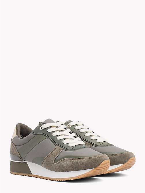 TOMMY HILFIGER Metallic Detail Textile Trainers - DUSTY OLIVE - TOMMY HILFIGER NEW IN - main image