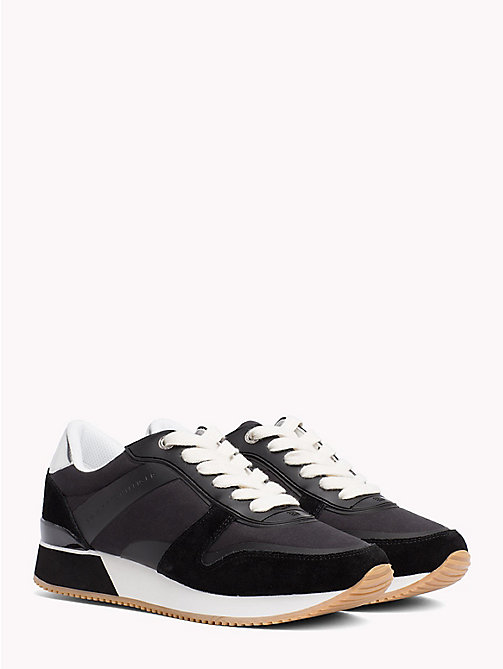 TOMMY HILFIGER Metallic Detail Textile Trainers - BLACK - TOMMY HILFIGER NEW IN - main image