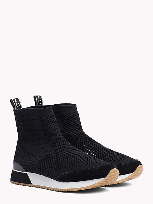 TOMMY HILFIGER Knitted High Top Trainers - BLACK - TOMMY HILFIGER Trainers - main image