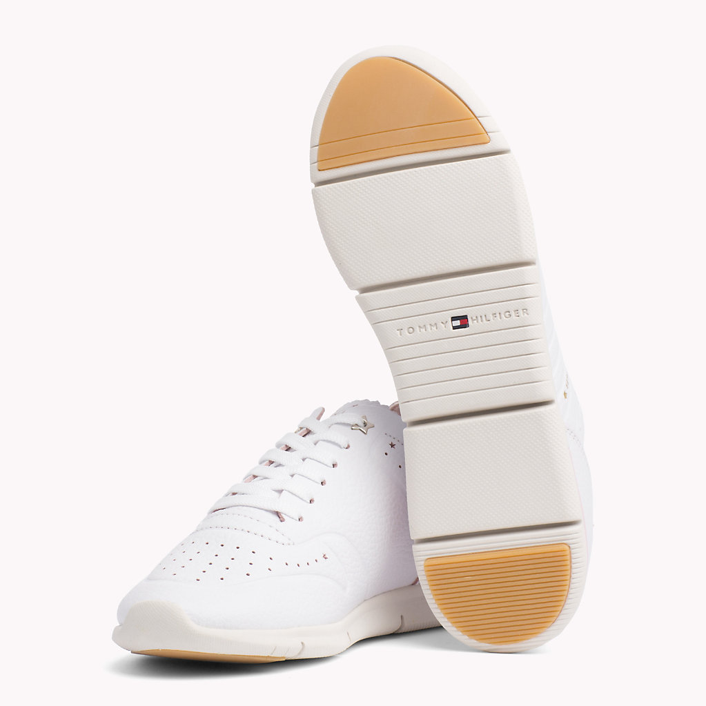 Lightweight Leather Scalloped Tongue Trainers - Sales Up to -50% Tommy Hilfiger Azrsoqd