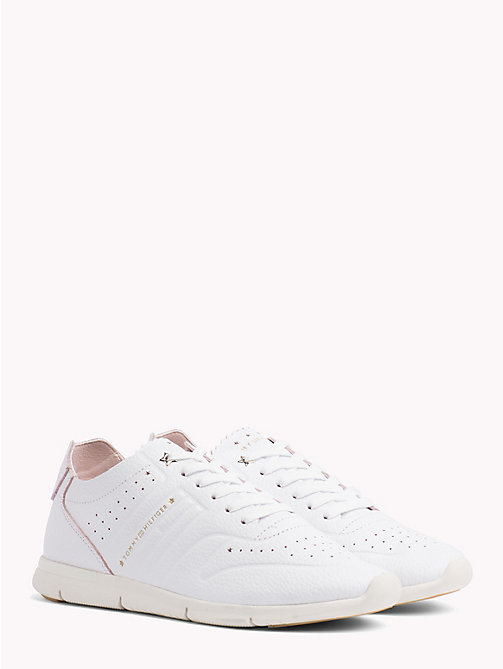 TOMMY HILFIGER Lightweight Leather Scalloped Tongue Trainers - WHITE - TOMMY HILFIGER VACATION FOR HER - main image