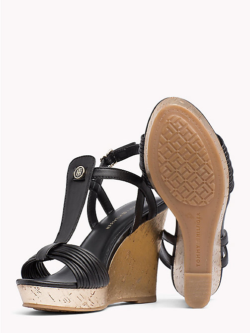 TOMMY HILFIGER T-Bar Strappy Wedge Sandals - BLACK - TOMMY HILFIGER Wedges - detail image 1