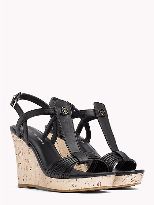 TOMMY HILFIGER T-Bar Strappy Wedge Sandals - BLACK - TOMMY HILFIGER NEW IN - main image