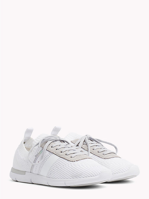 TOMMY HILFIGER Knitted Lightweight Trainers - WHITE - TOMMY HILFIGER VACATION FOR HER - main image