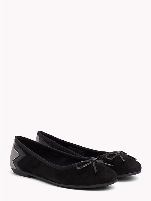 TOMMY HILFIGER Metallic Star Suede Ballerina Flats - BLACK - TOMMY HILFIGER NEW IN - main image