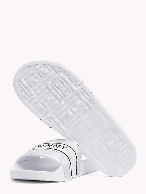 TOMMY HILFIGER Iridescent Metallic Sliders - WHITE - TOMMY HILFIGER VACATION FOR HER - detail image 1