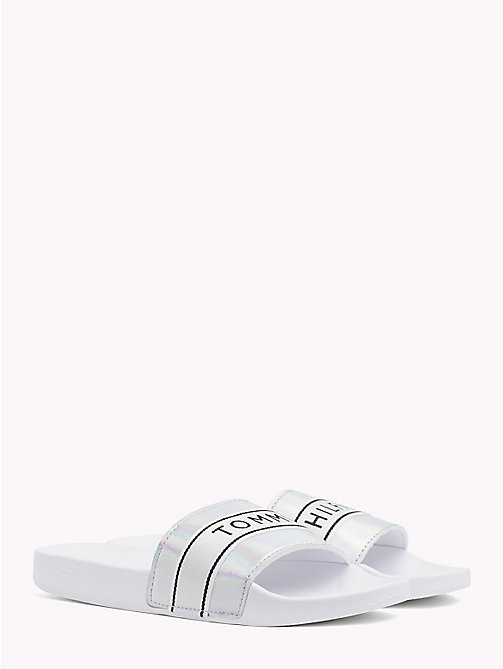 TOMMY HILFIGER Iridescent Metallic Sliders - WHITE - TOMMY HILFIGER VACATION FOR HER - main image