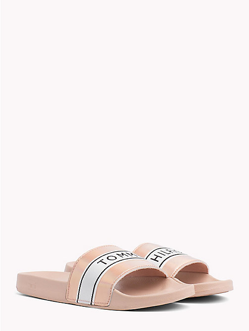TOMMY HILFIGER Iridescent Metallic Sliders - DUSTY ROSE - TOMMY HILFIGER VACATION FOR HER - main image