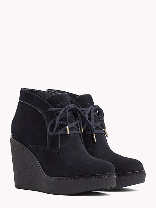 TOMMY HILFIGER Lace-Up Wedge Boots - MIDNIGHT - TOMMY HILFIGER NEW IN - main image