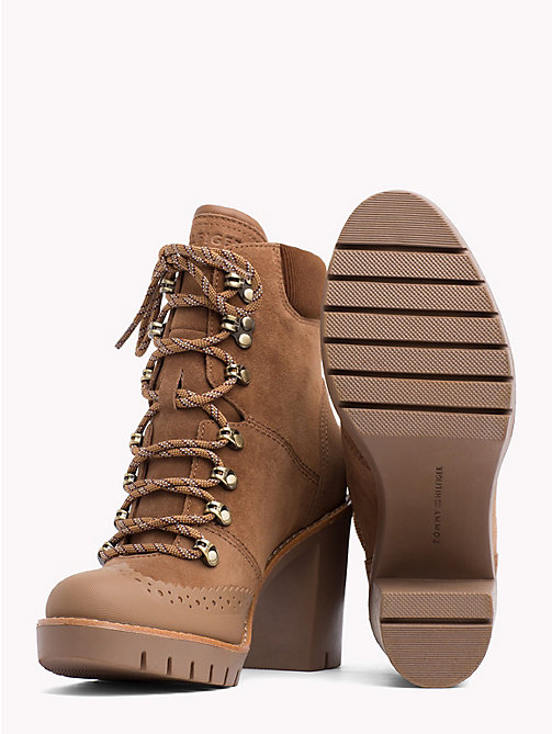 TOMMY HILFIGER Block-Heel Hiking Boots - WINTER COGNAC - TOMMY HILFIGER Heeled Boots - detail image 1