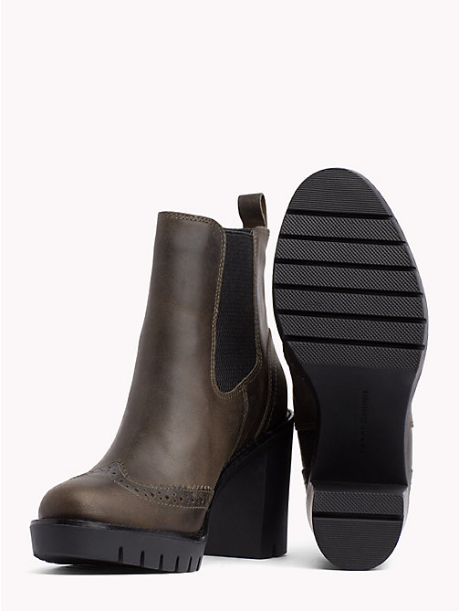 TOMMY HILFIGER Leather Heeled Chelsea Boots - MUSK - TOMMY HILFIGER Heeled Boots - detail image 1