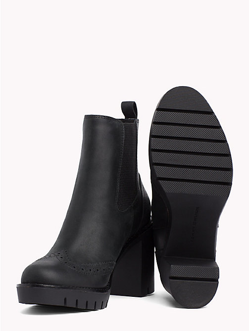 TOMMY HILFIGER Leather Heeled Chelsea Boots - BLACK - TOMMY HILFIGER Heeled Boots - detail image 1