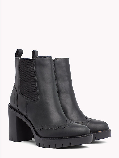 TOMMY HILFIGER Leather Heeled Chelsea Boots - BLACK - TOMMY HILFIGER Heeled Boots - main image