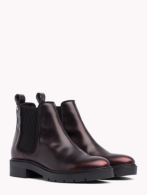 TOMMY HILFIGER Metallic Leather Chelsea Boots - DECADENT CHOCOLATE - TOMMY HILFIGER Ankle Boots - main image
