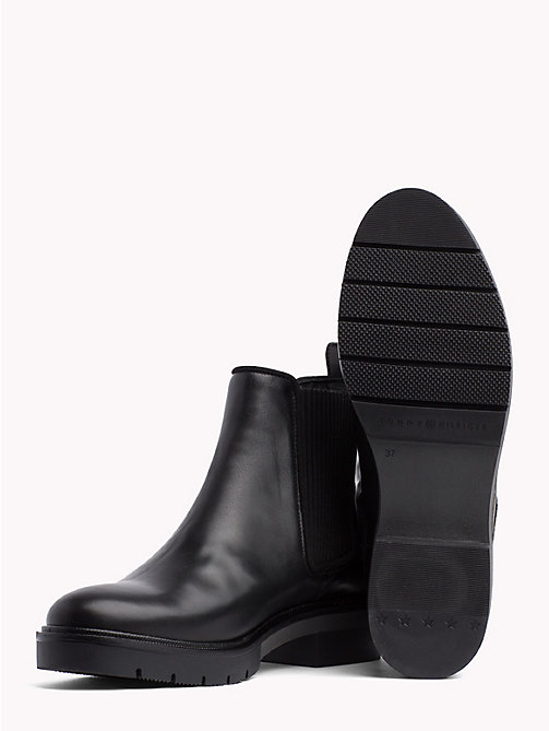 TOMMY HILFIGER Metallic Leather Chelsea Boots - BLACK - TOMMY HILFIGER Shoes - detail image 1