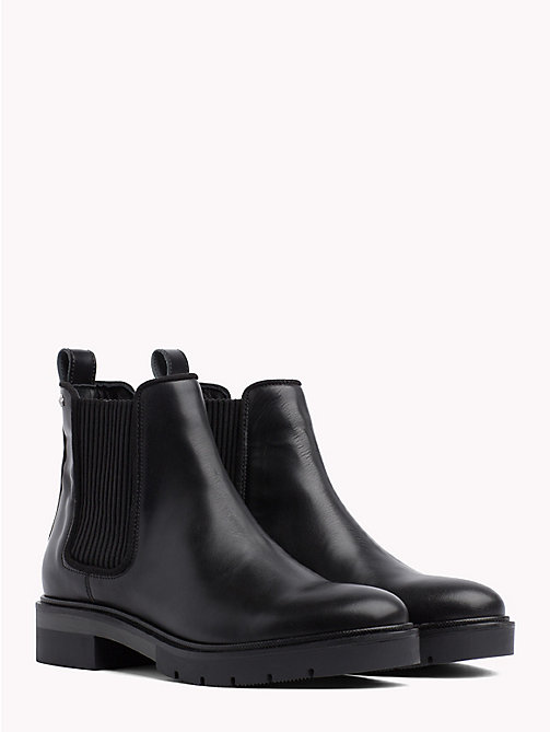 TOMMY HILFIGER Metallic Leather Chelsea Boots - BLACK - TOMMY HILFIGER Shoes - main image