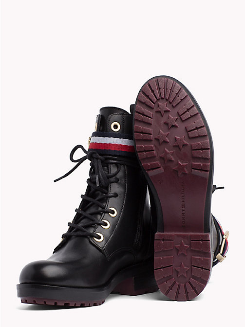 TOMMY HILFIGER Signature Tape Buckle Biker Boots - BLACK - TOMMY HILFIGER NEW IN - detail image 1