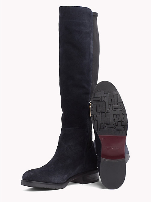 TOMMY HILFIGER Suède stretchlaars met monogram - MIDNIGHT - TOMMY HILFIGER Knee-high laarzen - detail image 1