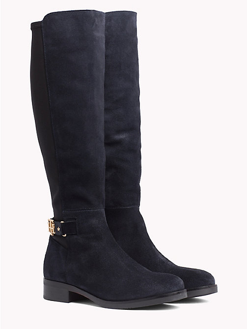 TOMMY HILFIGER Suède stretchlaars met monogram - MIDNIGHT - TOMMY HILFIGER Knee-high laarzen - main image