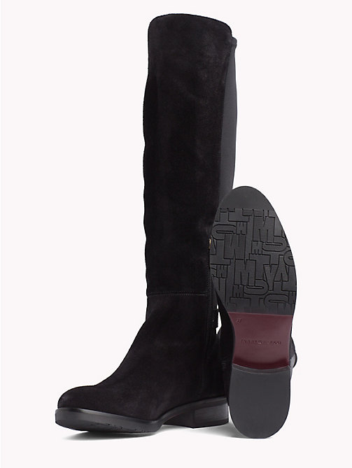 TOMMY HILFIGER Monogram Buckle Stretch Boots - BLACK - TOMMY HILFIGER Knee-High Boots - detail image 1